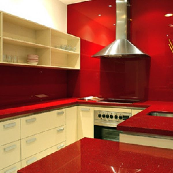 Red Solid Surface Vanity Design Countertop With